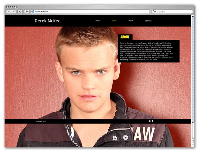 Página Wix HTML5 de Derek McKee