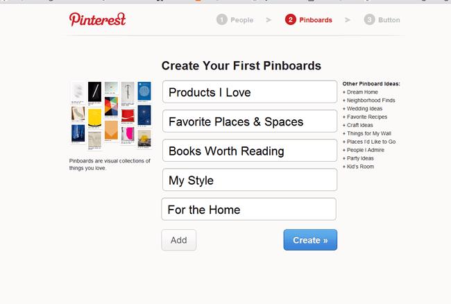 Página en Pinterest donde editas tus pinboards