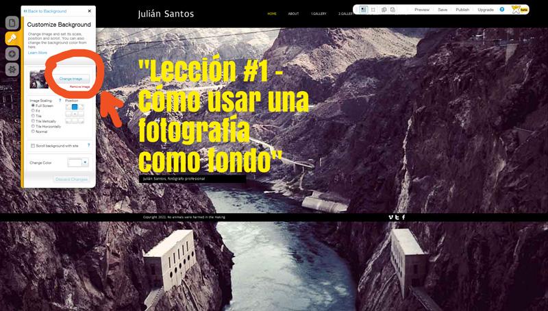 Printscreen del Editor: Haz clic en Change Image