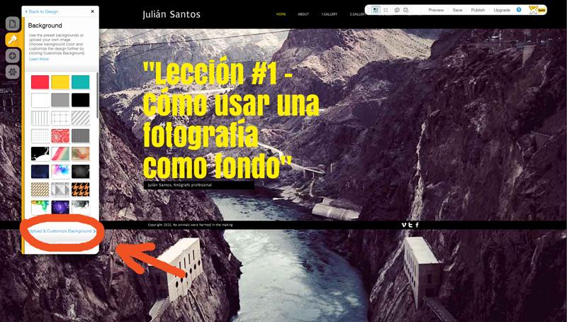 Printscreen del editor: Haz clic en Upload & Customize Background