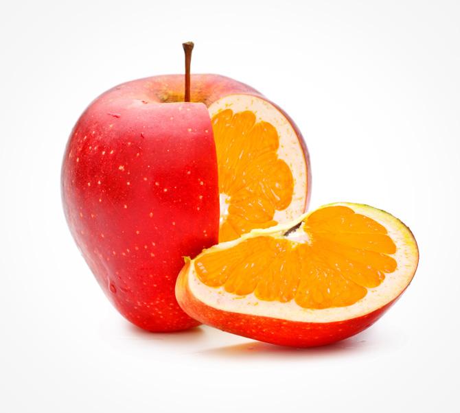 Manzana con interior de naranja