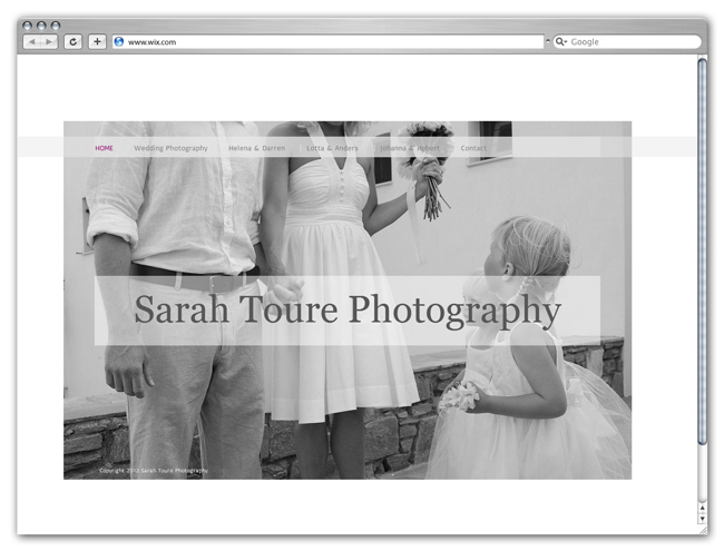 Sitio Wix de Sarah Toure Photography
