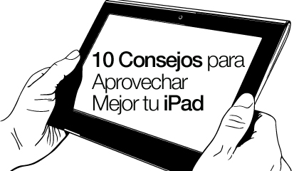 Dos manos sostienen un iPad ilustrado