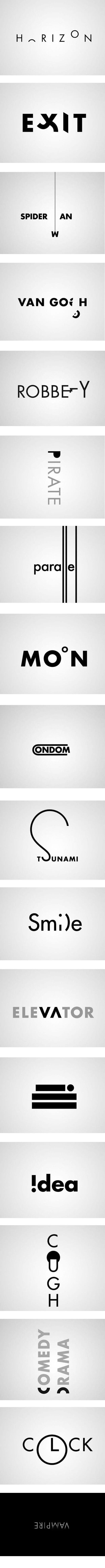 Varios ejemplos de inteligente arte tipográfico