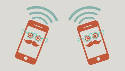 Ilustración de dos teléfonos con bigote
