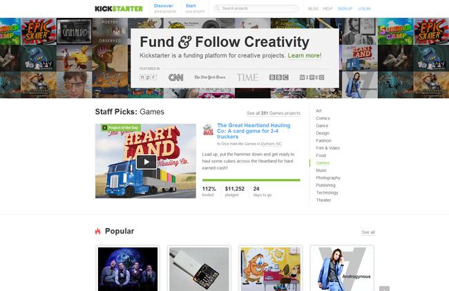 Página web de financiación Kickstarter