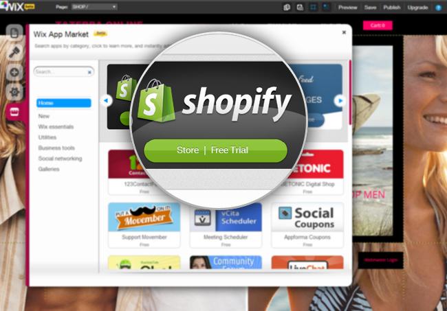 Shopify en el App Market de Wix