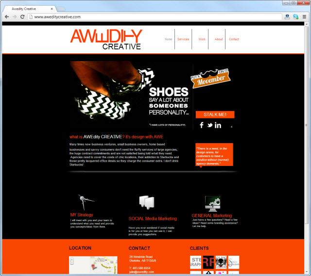 Página de inicio de aweditycreative.com