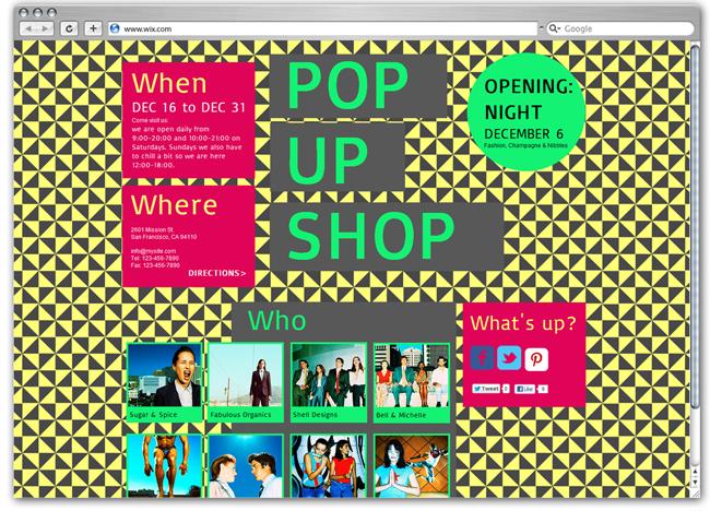Plantilla Wix de Pop Up Shop
