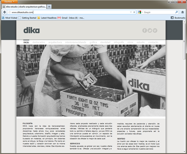 Página de Inicio de Dika Estudio