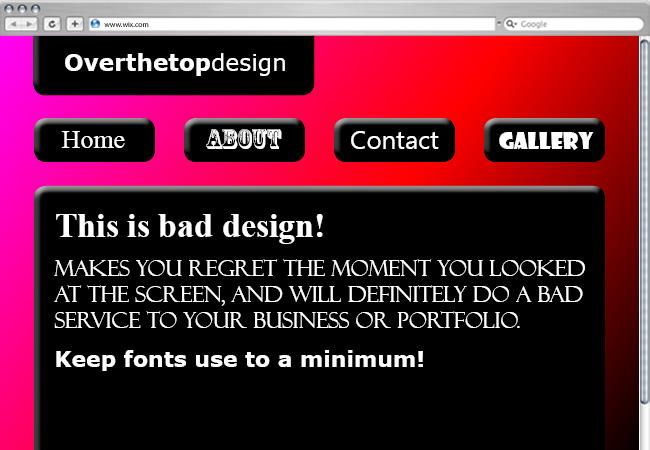 Página web con muchos tipos de tipografía