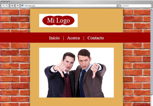 Página web con fondo de ladrillos