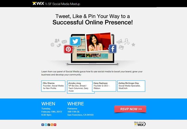 Sitio web de eventos Wix