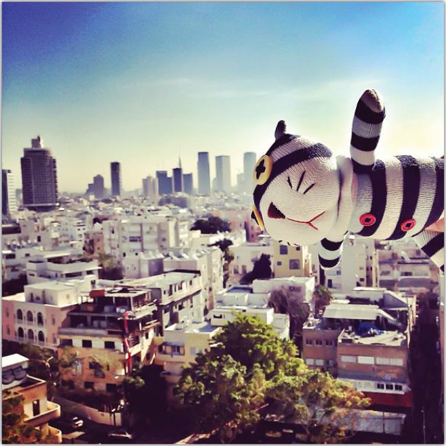 Muñeco de gato sobrevuela una ciudad