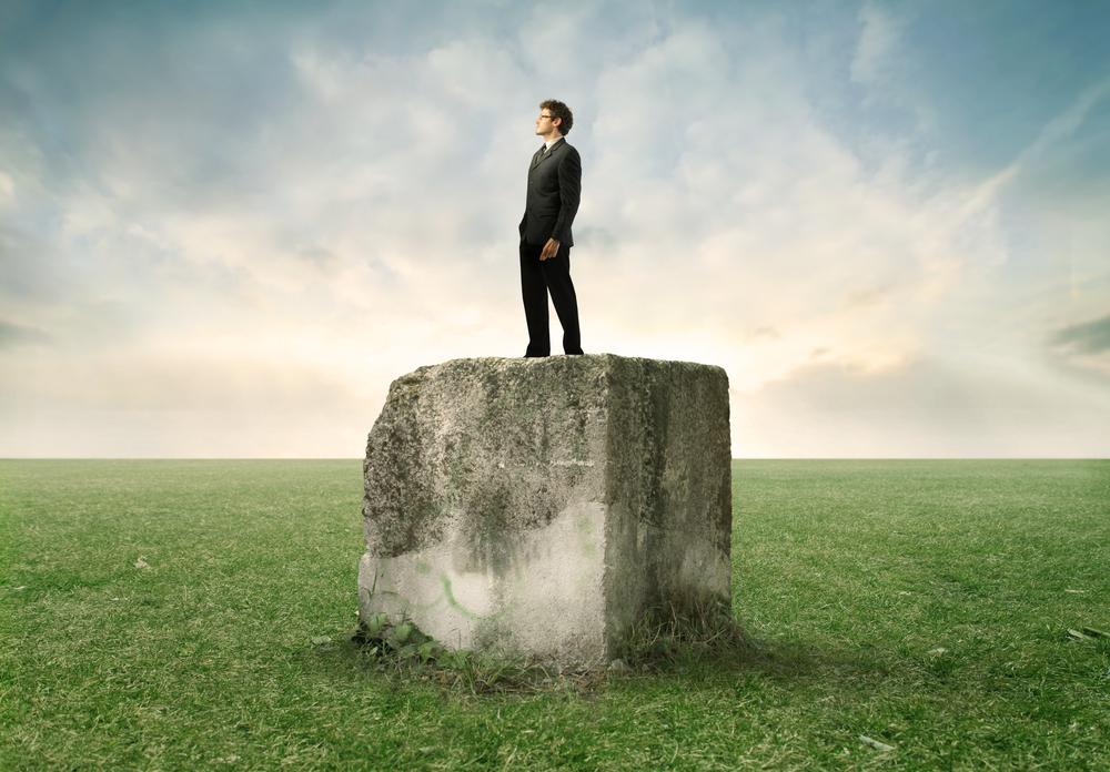 Hombre parado encima de una roca mirando al horizonte en medio de un campo verde