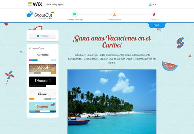 Captura de pantalla del menú de selección de plantillas de Wix ShoutOut