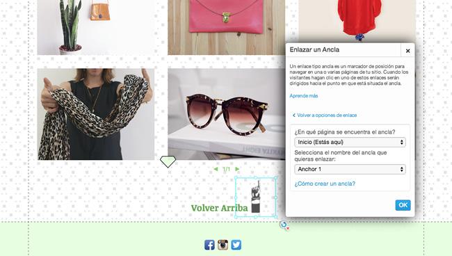Captura de pantalla del Editor de Wix con el botón de Volver Arriba