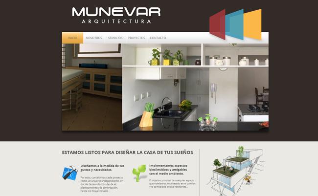 Screenshot del sitio web de Munevar Arquitectura