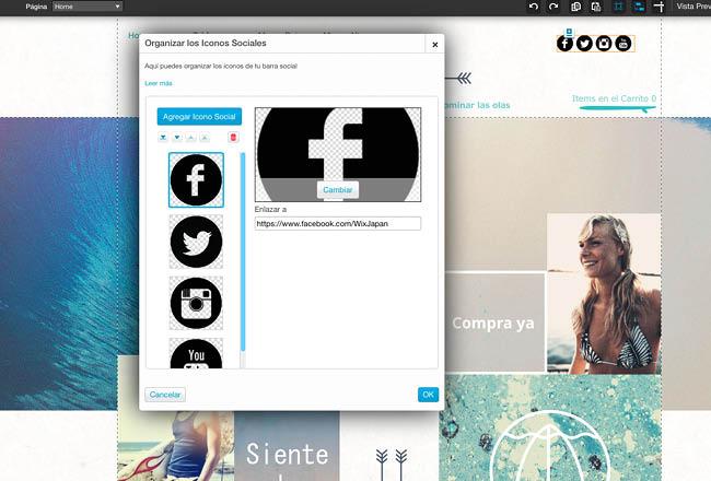 Captura de pantalla del Editor de Wix