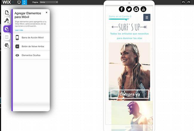 Captura de Pantalla del Editor para versión móvil de Wix