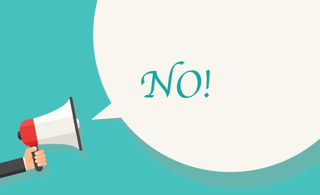 """Cartel que dice """"No"""""""