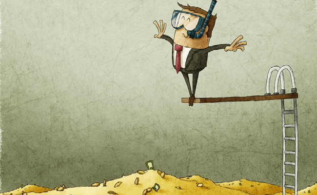 Hombre Saltando a Una Piscina de Dinero
