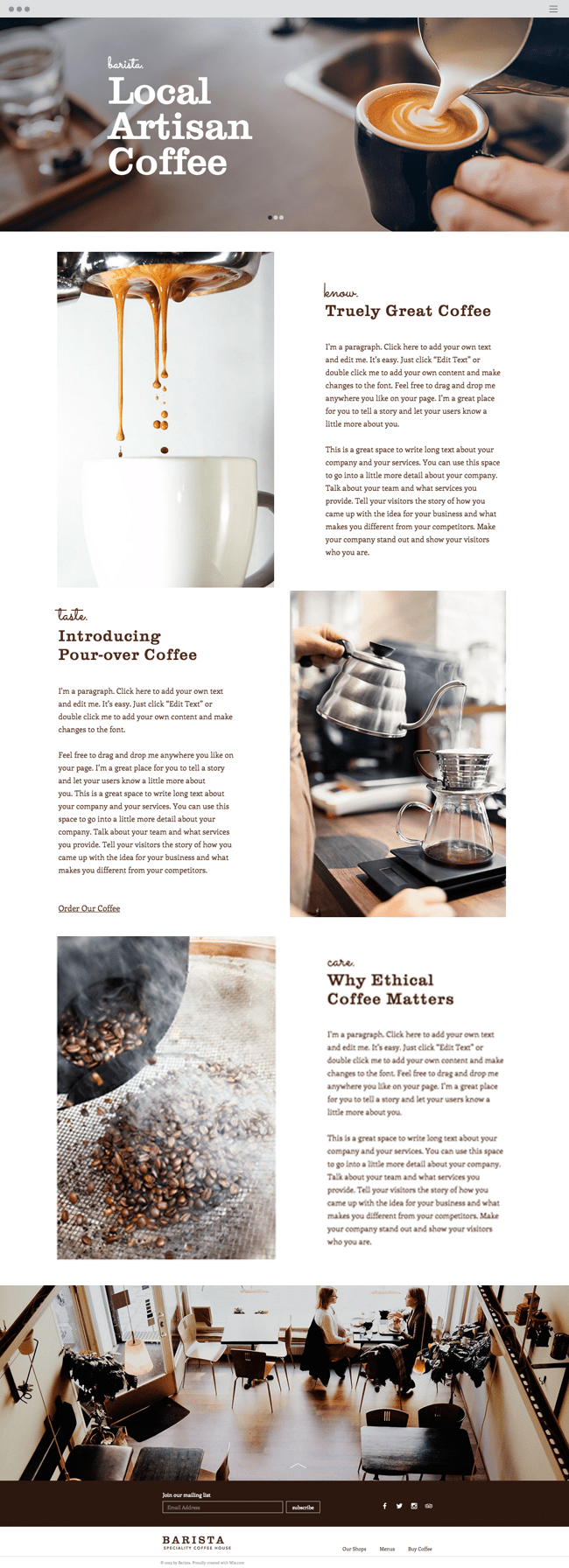 Coffee House Website Template WIX