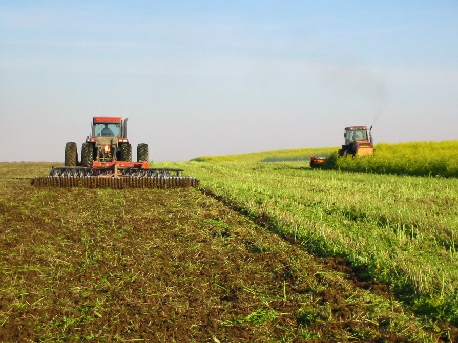 farm machinery chopping and incorporating green cover crop into soil
