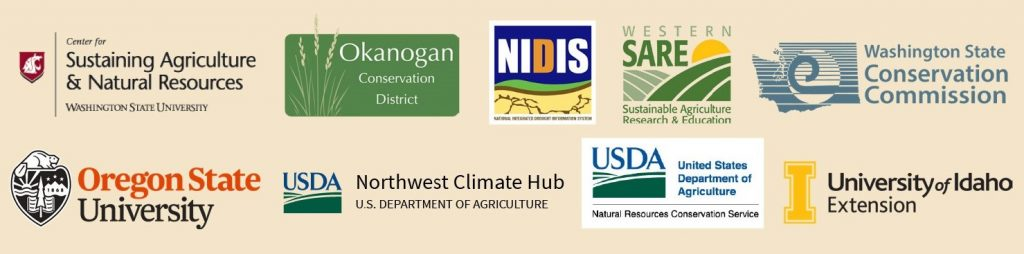 Logos: Center for Sustaining Agriculture and Natural Resources Washington State University; Okanogan Conservation District; National Integrated Drought Information System (NIDIS); Western SARE Sustainable Agriculture Research & Education; Washington State Conservation Commission; Oregon State University; US Department of Agriculture Northwest Climate Hub; USDA Natural Resources Conservation Service; University of Idaho Extension