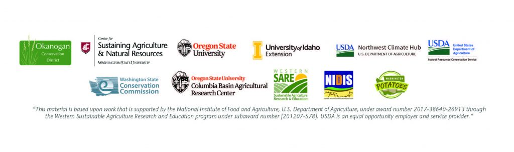 Logos: Okanogan Conservation District, Center for Sustaining Ag and Natural Resources, Oregon State University, University of Idaho Extension, USDA Northwest Climate Hub, USDA, WA State Conservation Commission, OSU Columbia Basin Agricultural Research Center, Western SARE, NIDIS, Washington Potatoes