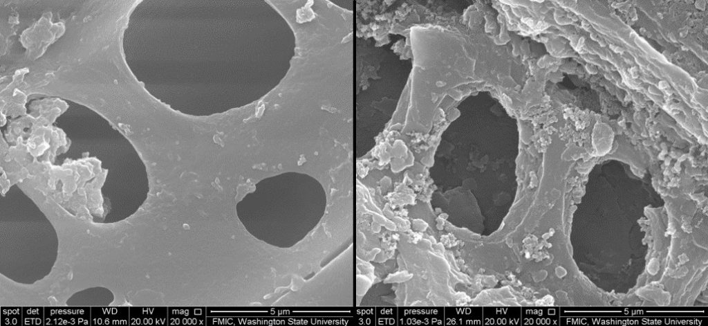 two images of material with large holes. Left image appears smoother.