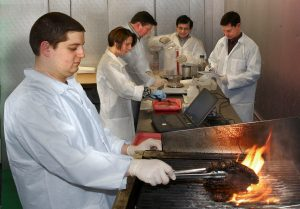 Scientists grills a steak while other researchers perform analysis in background.