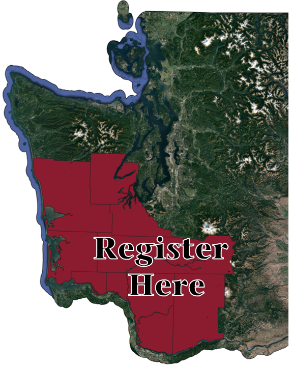 "Map showing the counties of Southwest Washington and text saying ""Register here"""