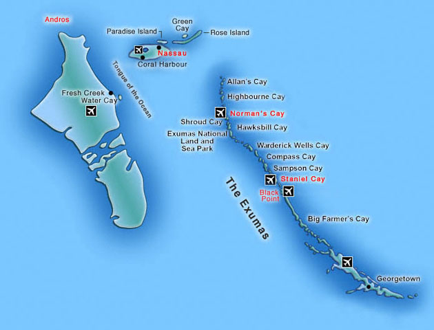 Exuma Islands Yacht Charter Map