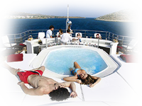 Relaxing on mega yacht