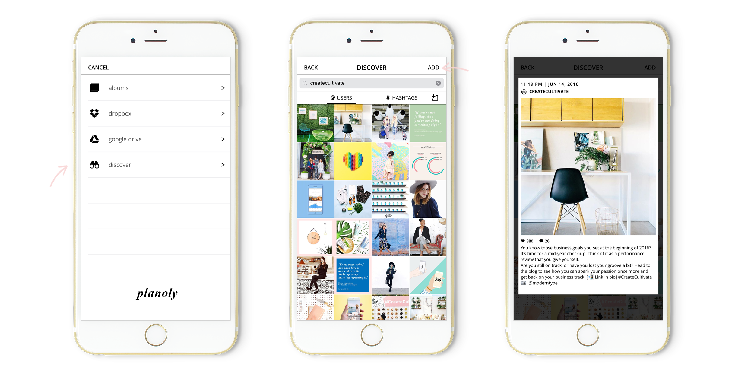 Discover user generated Instagram content on Planoly iOS app