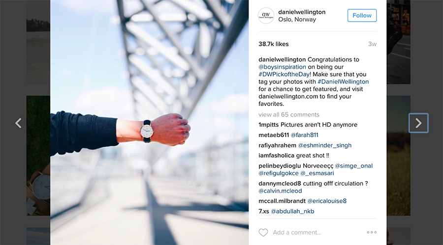 Daniel Wellington visual strategy on Instagram feature on Planoly blog