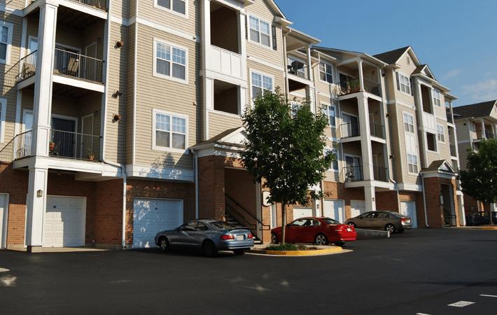 Apartment asphalt parking lot