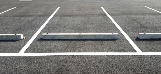 New commercial asphalt parking lot