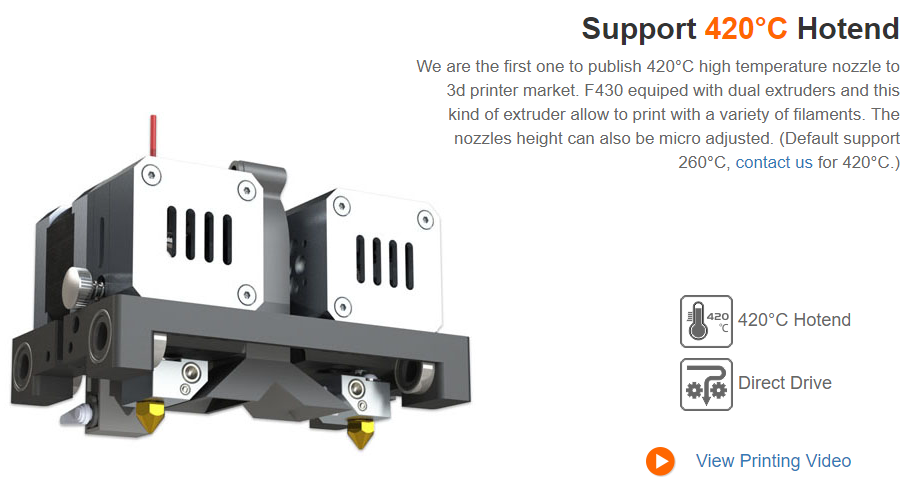 CreatBot F430 Direct Drive Dual Extruder 3D Printer - 400°C Dual Hot ends