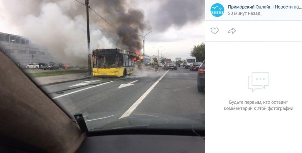 Прокуратура начала проверку по факту возгорания автобуса на Планерной