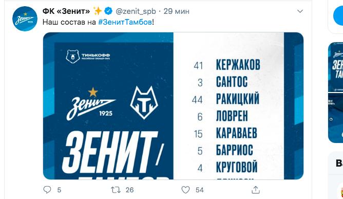 «Зенит» назвал стартовый состав на матч с «Тамбовом»