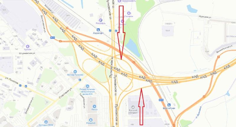 Съезд на развязку КАД с Пулковским шоссе полностью перекроют для транспорта