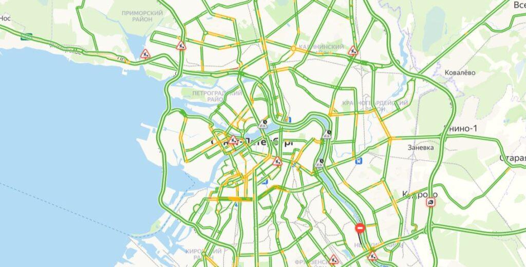 Утром субботы в Петербурге пробки в один балл, но это ненадолго
