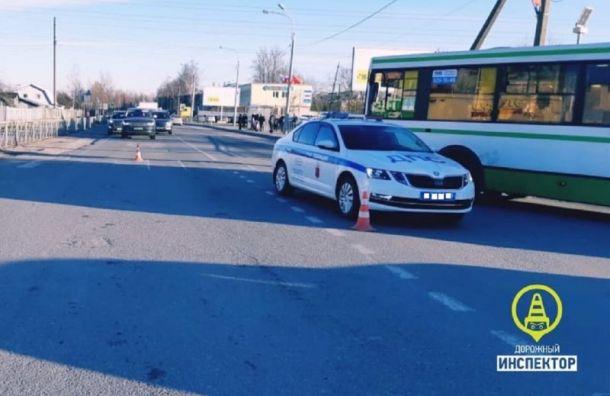 Машина полиции совершила наезд на женщину на Новодеревенской ул.