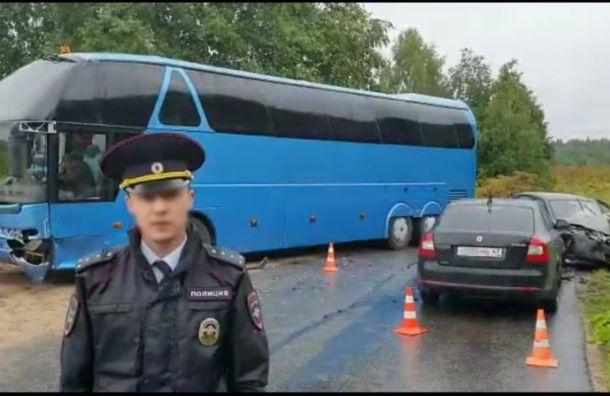 Lada протаранила автобус с детьми под Кингисеппом