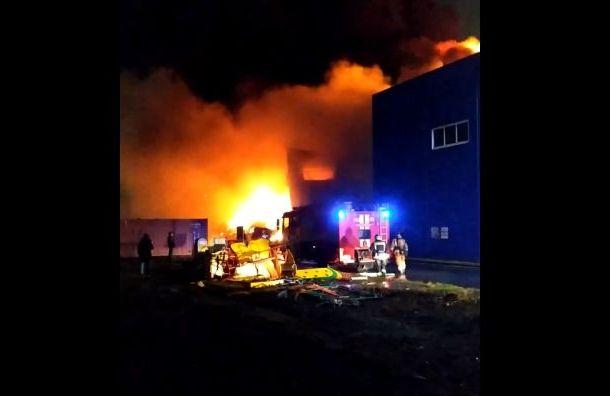 Огонь охватил склады на ул. Салова во Фрунзенском районе