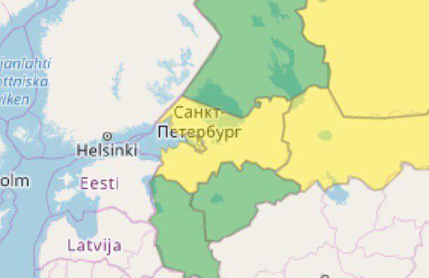 Специалисты объявили желтый уровень погодной опасности в Санкт-Петербурге