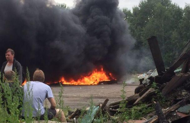 Из-за пожара на свалке Невский район заволокло черным дымом