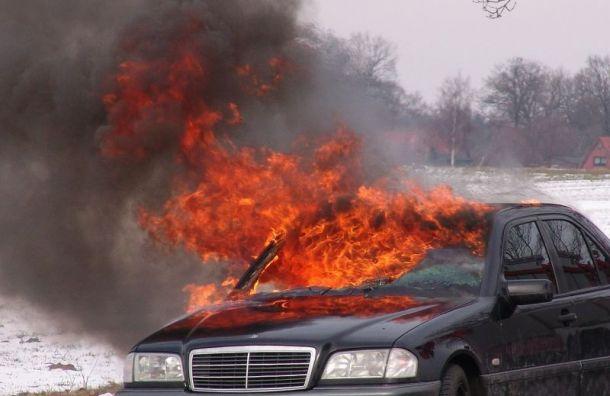 Водитель съехал в канаву и сгорел в своем автомобиле в Ленобласти